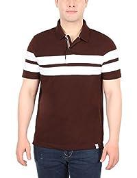 The 5ive Brown & White Stripe Men's Polo Tshirt