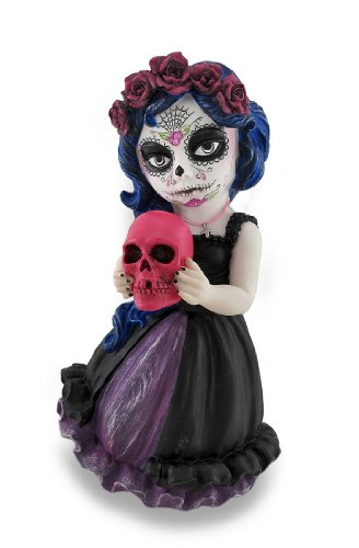 Cosplay Kids Mini Day Of Dead Girl Halten Totenkopf Statue (Skull Kid Cosplay Kostüm)