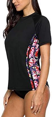 ALove Women Short Sleeve Rash Guard V Neck UV Swim Shirt Sun Protection Swim Top