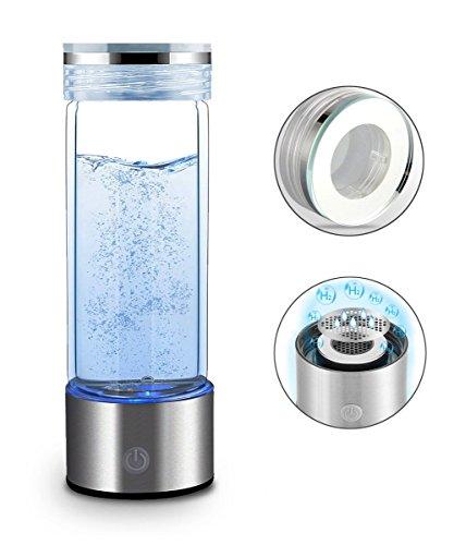 RESH Wasserstoff Reiches Wasser Flasche Tragbar Wasserstoffreiche Trinkflasche Anti Aging Antioxidans Wasser Maker Hersteller ionisierter Generator 450 ml (Silber)