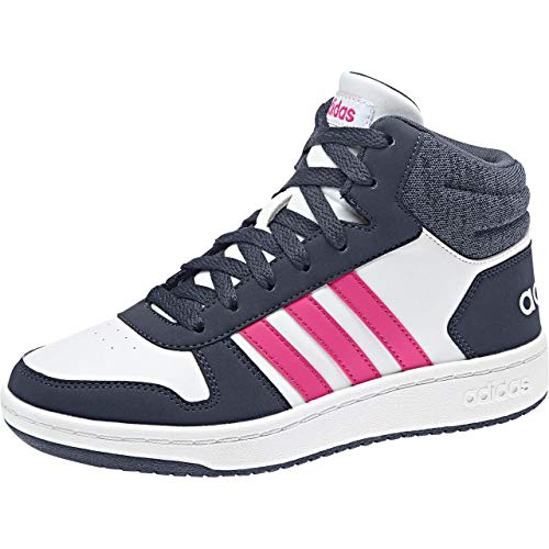 adidas Hoops Mid 2.0, Scarpe da Basket Unisex-Bambini, Bianco Ftwwht/Reamag/Trablu, 32 EU