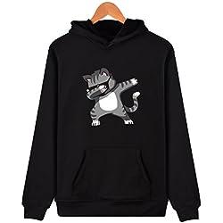 SIMYJOY Pareja Sudadera con capucha Historieta Adorable Encapuchado Camisa Hip Pop Pull-over para Hombre Mujer adolescentes gato negro XS