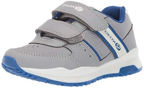 Geox Jungen Low-Top Sneaker CORIDAN Boy J925DA Kinder Halbschuh,Sportschuh,Klettschuh, Klett-Verschluss,Grey/ROYAL,38