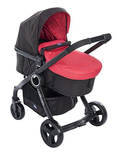Chicco urban plus passeggino, con colourpack e autofix seggiolino auto, red passion