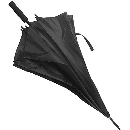 Paraguas Grande (Diámetro 126 cm). Anti Viento con Varillas Dobles Reforzadas. Cómodo, Robusto y de Secado Rápido. Color Negro