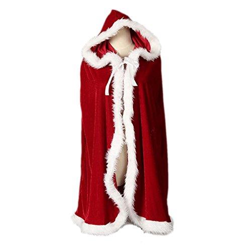 (FYGOOD Weinachten Mädchen kostüm Weihnachtsfrau Umhang mit Kapuze Kostüm ROT Weinachten Party Cosplay Kapuzenmantel Länge(mit Kaputze):150cm)