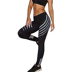 Femmes Taille Yoga Fitness Leggings en Cours d'exécution Gym Extensible Sport Pantalons Pantalon Slim Jeans Combinaisons Short Collants Knickerbockers (L,Noir)