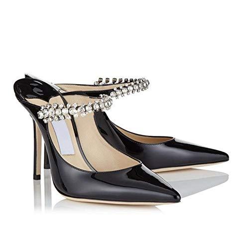 luckyy Damen High Heel Schwarz Rhinestone Charol con Sandalias de Zapatos Poco profundos con 7cm@Negro_36