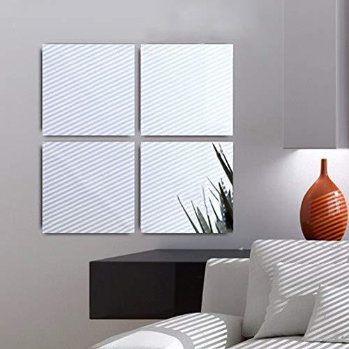Ecooe Adhesivo Espejo de Pared de Acrílico Espejo de Baño Espejo Adhesivo 11.8 x 11.8 Pulgadas, Un...