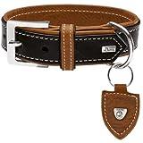 Hunter Tara, Hundehalsband mit Juchtenleder Farbe Schwarz/Cognac, Größe 50
