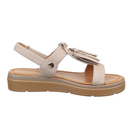 Damen Schuhe, 57532, SANDALEN FRANSEN RIEMCHEN Beige