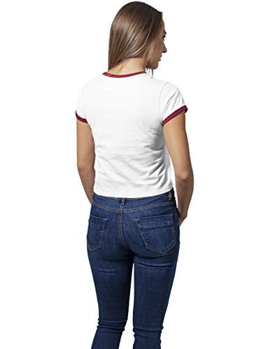 Urban Classics Damen T-Shirt Ladies Cropped Ringer Tee Mehrfarbig (white/burgundy 861)