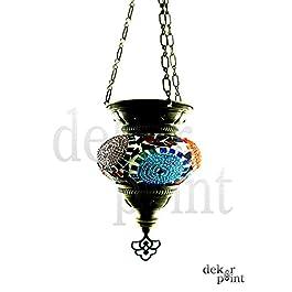 Hecha a mano con motivos orientales Turco mosaico Farol colgante Interior Lámpara de techo lámpara colgante lámpara de techo Farol mano cristal colgante portavelas Candelabro farol Cristal tamaño 2