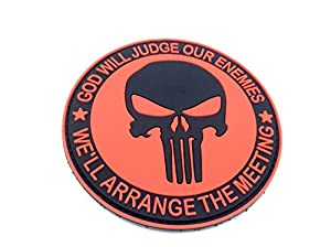 Punisher God Will Judge Our Enemies Rouge PVC Airsoft Patch