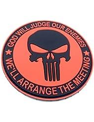 Punisher dios juzgará NUESTROS ENEMIGOS rojo PVC Airsoft Patch
