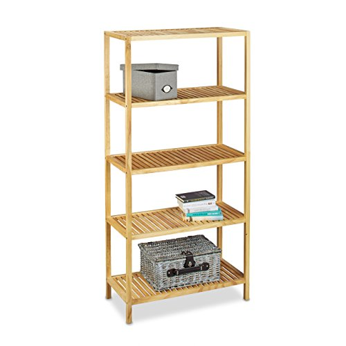 Relaxdays Wooden Shelving Unit, Size: 150 X 72 X 36 Cm Freestanding Shelf  Made Of Pine Wood With 5 Shelves As Bookshelf Or Bathroom Storage Rack, ...