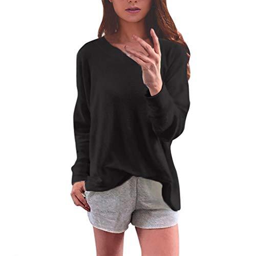 SoonerQuicker Cardigan Damen Lang Mit Kapuze Womens Leisure Pure Shirts O-Neck Long Sleeve Top Loose T-Shirt BlouseSchwarzS (Womens Neck Loose T-shirts)