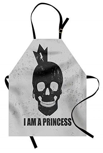 Ambesonne I am a Princess Schürze Totenkopf mit Krone Skelett Halloween Motto Grunge Look Unisex Küche Latzschürze mit verstellbarem Hals zum Kochen Backen Garten Anthrazit Hellgrau