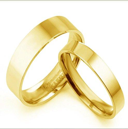 Personalisierte Herr der Ringe Bräutigam & passende Braut vergoldet Wedding Anniversary Set Eheringe Titan, Größen 47 bis 77