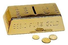 Idea Regalo - Unbekannt Salvadanaio a Forma di lingotto d' Oro, lingotti d' Oro con Chiave e Lucchetto, Salvadanaio a Forma chiudibile a Chiave