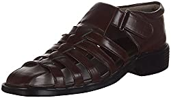 Kolapuri Centre Mens Brown Faux Fur Ethnic Sandals - 8 UK