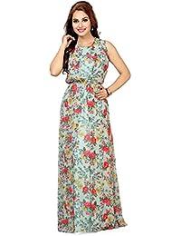 Ishin Faux Georgette Multicolor Printed Party Wear Wedding Wear Casual Daily Wear Festive Wear New Collection Latest Design Trendy Women's Western Maxi Dress