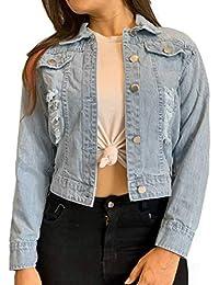 Shocknshop Ripped Saint Blue Regular Fit Crop Denim Jacket for Women (JKT26)