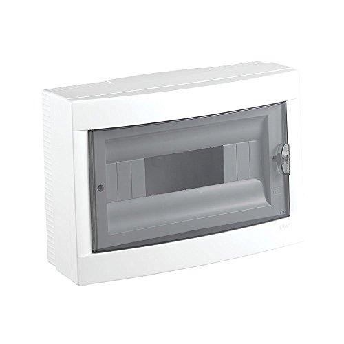 Preisvergleich Produktbild Aufputz Kleinverteiler 12 Module / Sicherungskasten /Verteilerkasten Aufputz IP40, 1-reihig mit Hutschiene + PE/N Klemmen