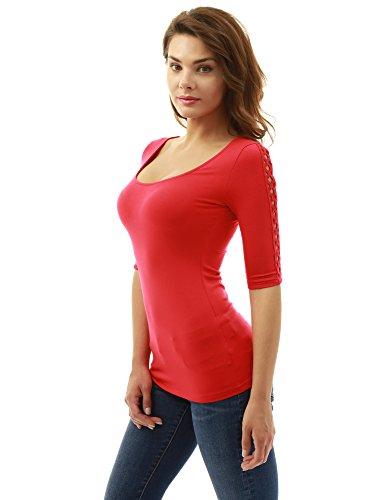 PattyBoutik Damen Spitzeneinsatz Bluse mit 3/4 Ärmeln und Rundhalsausschnitt Rot
