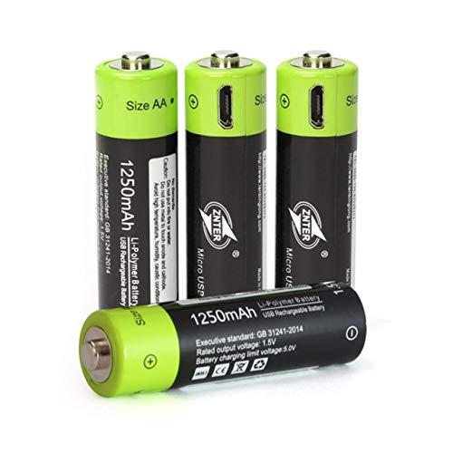 1250-kabel (ZNTER ZNT5-1-BR Universal-AA 1,5V 1250mAh USB aufladbare Lithium-Polymer-Akku aufgeladen durch Micro-USB-Kabel (schwarz-grün))