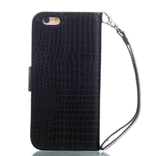 Coque iPhone 6/6S, Voguecase Housse en PU Cuir avec Support Fonction Étui de Protection Magnétique avec Porte-cartes pour Apple iPhone 6/6S 4.7 (Crocodile grain II-Gris clair) + Gratuit stylet l'écran Crocodile grain II-Noir