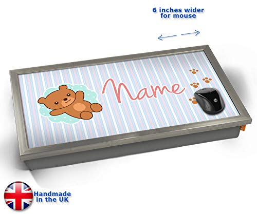 Teddy Personalised Childrens Name Cushioned Bean Bag Laptop Lap Tray Desk - Built-in EMF Shield...