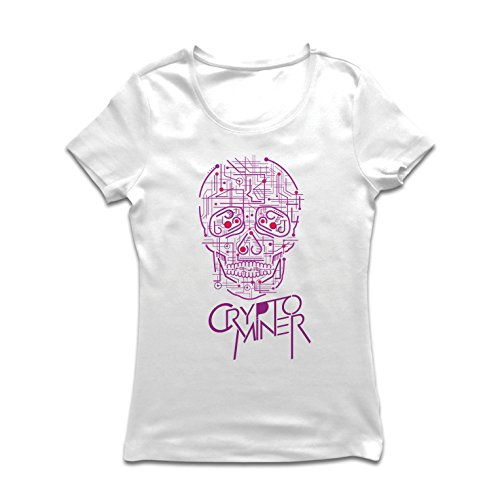 lepni.me Camiseta mujer Crypto Miner - Cryptocurrency - Bitcoin Ethereum, Blockchain Mining algorithms (Medium Blanco Multicolor)