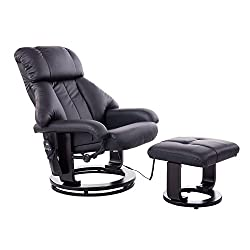 Homcom massage chair TV armchair Armchair with stool Massage with heat function and vibration black
