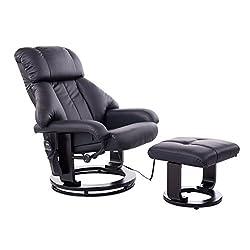HOMCOM Massagesessel Fernsehsessel Sessel mit Hocker Massage mit Wärmefunktion und Vibration