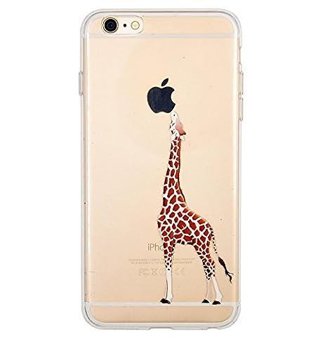 Coque iPhone 6 Plus, iPhone 6S Plus, OFFLY Transparente Souple Silicone TPU étui d' Protection, Cute et Motif Fantaisie pour Apple iPhone 6 Plus / 6S Plus - Girafe