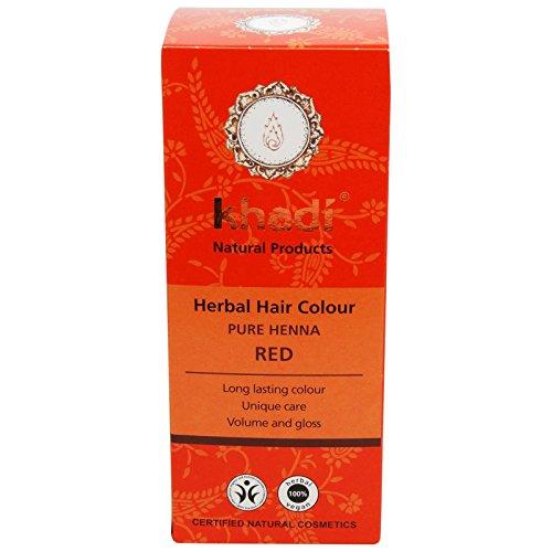 Khadi Pura Henna - Tinte 100% Natural para el Cabello - 1 Ingrediente Icónico - Tinte Color Anaranjado Claro y Castaño Cobrizo - Cubre con Barniz Protector - Acondiciona e Ilumina - Polvo Soluble 100g