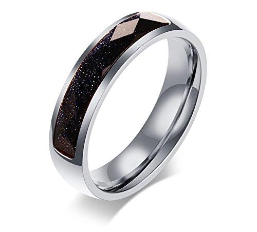 Vnox 5mm Edelstahl Dünn Blau Sandstein Hochzeit Band Kristall Engagement Versprechen Ring für Männer Frauen Silber