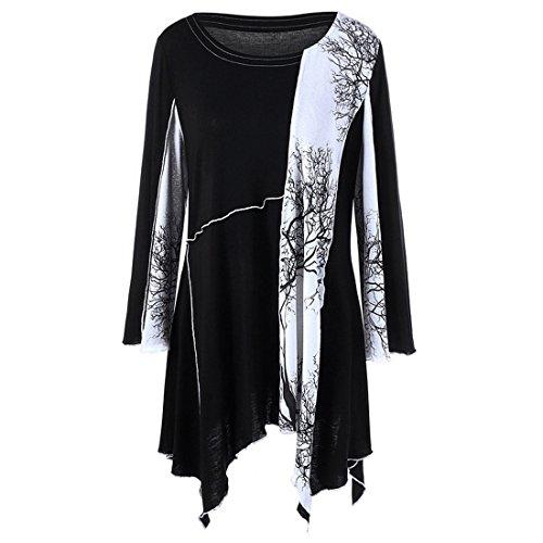 Wenyujh Damen Frauen Kleid Shirt Langarm Asymmetrisch Langarmshirt Tunika Schwarz Weiß Patch Große Größen Oversize