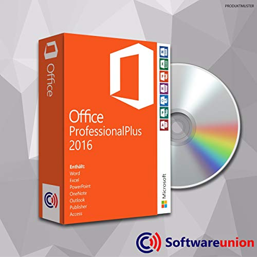 MS Office Professional Plus 2016 (32 Bit und 64 Bit) mit DVD, Original Lizenz-Key, Produktschlüssel, Deutsche Lizenz, Anleitung von SWU Softwareunion