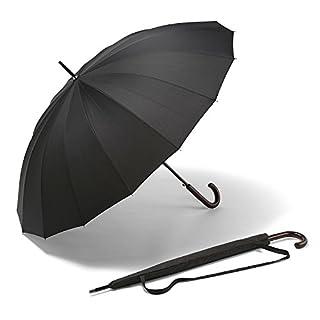 Large K-POP Umbrella - The Best Long Windproof & Stormproof Umbrella - The Strongest Auto Open Black Umbrellas - Money Back Guarantee - for Men + Women