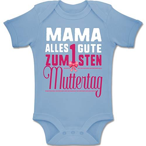 Shirtracer Muttertag Baby - Mama, Alles Gute zum 1sten Muttertag - 3-6 Monate - Babyblau - BZ10 - Baby Body Kurzarm Jungen Mädchen