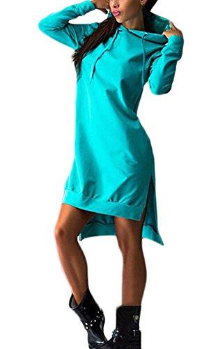 Donna Felpe Cappuccio Autunno Lunghe Sportive Eleganti Felpa Vestiti Manica Lunga Sciolto Irregolare Casual Puro Colore Maglia Abiti verdi