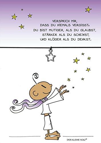 Armband vom Kleinen Yogi mit Anhänger Stern versilbert, elastischem Textilband in schwarz und liebevoller Karte: Du bist mutig