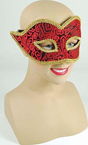 RED/BLACK MASK WITH GOLD TRIM (FANCY DRESS EYEMASKS)