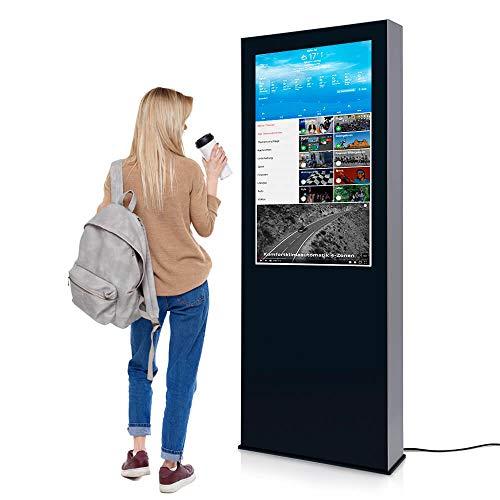 Digital Signage Stele Outdoor - Digitalsystem mit Wow-Effekt von Mydisplays - 55 Zoll Touchscreen LCD Panel Schwarz - Multimedia Werbefläche