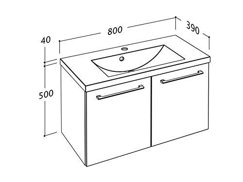 Waschtischunterschrank 50 / 80 cm breit Eiche Trüffel und Weiß Waschbeckenunterschrank Unterschrank Badmöbel-Set hängend Sieper Elva (Eiche Trüffel, 80) - 4