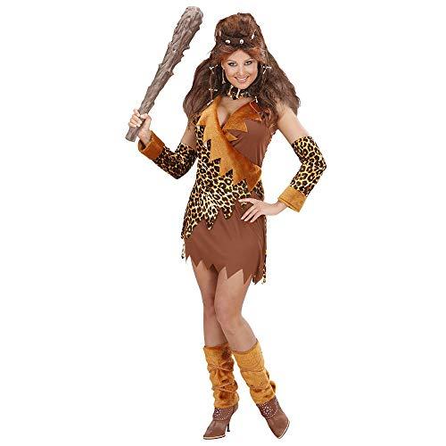 WIDMANN 73501 - Erwachsenenkostüm Urwaldfrau, Kleid mit Handschuhe und Stiefelüberzieher, Größe S (Feuerstein Halloween Kostüm Zubehör)