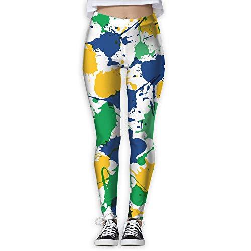 DLing Mardi Gras Brazil Women High Waist Yoga Pants Yoga Capris Pants Casual Workout Leggings Capris Pants,XL (Strumpfhosen Mardi Gras)