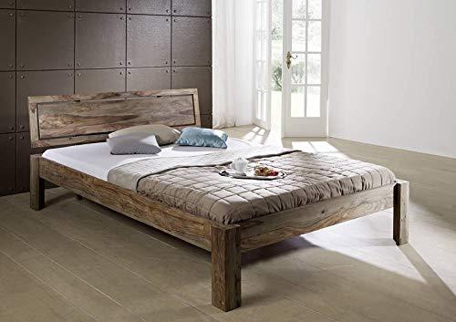 MASSIVMOEBEL24.DE Sheesham massiv Holz Bett 180x200 Palisander Möbel Nature Grey #192